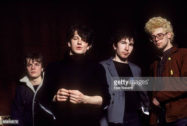 Photo of Adam CLAYTON and THE EDGE and BONO and U2 LR Larry Mullen Jnr Bono The Edge Adam Clayton posed group shot photographed at the Ritz in New...