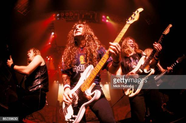 Photo of Adrian SMITH and Steve HARRIS and IRON MAIDEN and Dave MURRAY LR Adrian Smith Steve Harris and Dave Murray performing live onstage