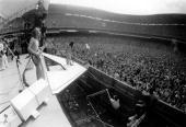 STADIUM Photo of AEROSMITH and Brad WHITFORD and Steven TYLER Brad Whitford and Steven Tyler performing live on stage at RFK Stadium crowd