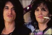 Photo of AEROSMITH and Joe PERRY and Steven TYLER LR Joe Perry Steven Tyler posed