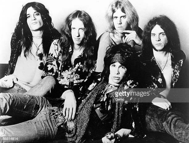 Photo of AEROSMITH and Joe PERRY and Tom HAMILTON and Steven TYLER and Brad WHITFORD and Joey KRAMER LR Joe Perry Brad Whitford Steven Tyler Tom...