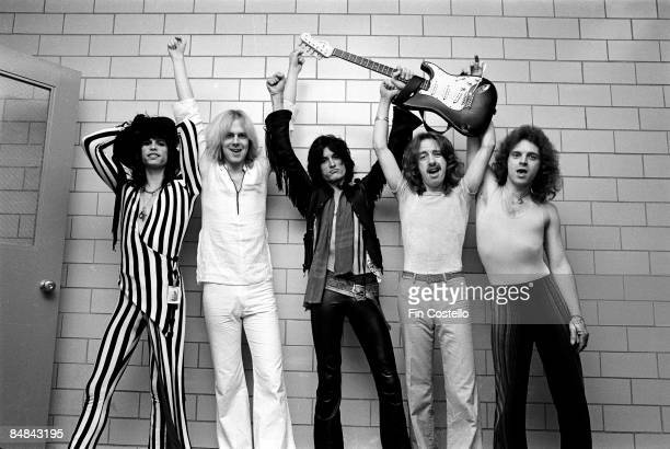 Photo of AEROSMITH and Tom HAMILTON and Steven TYLER and Joey KRAMER and Joe PERRY and Brad WHITFORD LR Steven Tyler Tom Hamilton Joe Perry Brad...
