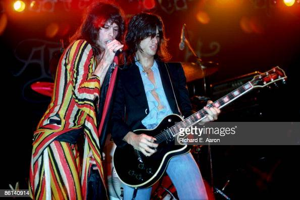 Photo of AEROSMITH Steven Tyler and Joe Perry performing live onstage