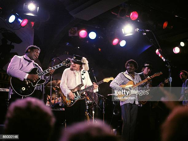 FESTIVAL Photo of Albert COLLINS and BB KING and Stevie Ray VAUGHAN with BB King Albert Collins performing live onstage on Riverboat SS President