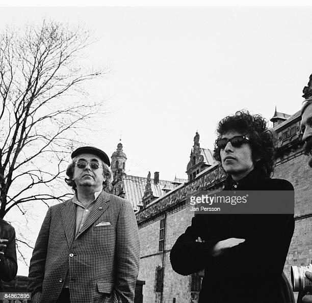 Photo of Albert GROSSMAN and Bob DYLAN w/ manager Albert Grossman posed at Elsinore Castle