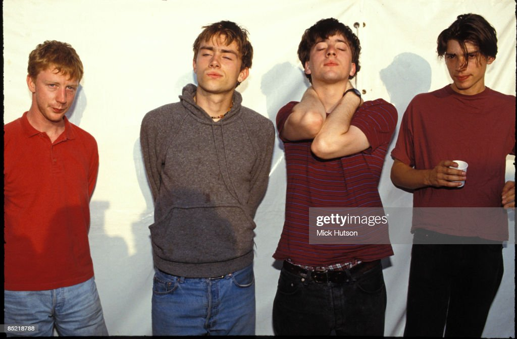 FESTIVAL Photo of Alex JAMES and BLUR and Graham COXON and Damon ALBARN and Dave ROWNTREE LR Dave Rowntree Damon Albarn Graham Coxon Alex James posed...