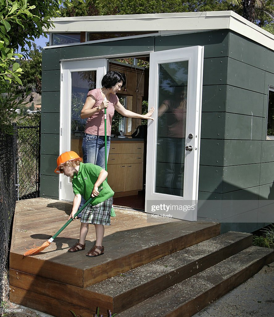 ^ Photo of lisa and her 3yr old son Max outside her art shed. lisa ...