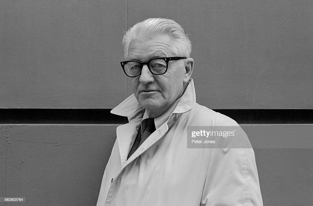 Photo of American author Wallace Stegner This head and shoulders photo shows Stegner with glasses and his collar upturned Undated photograph