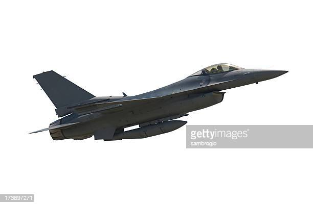 Photo of an airborne F-16 Falcon fighter jet