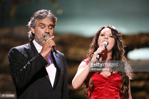 HALL Photo of Andrea BOCELLI and Sarah BRIGHTMAN Andrea Bocelli and Sarah Brightman performing on stage at the Classical Brit Awards