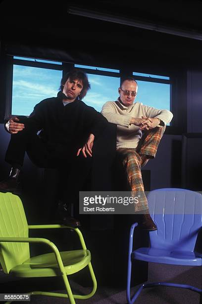 Photo of Andy PARTRIDGE and Colin MOULDING and XTC Posed group portrait LR Colin Moulding and Andy Partridge