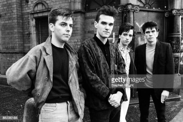 Photo of Andy ROURKE and MORRISSEY and Mike JOYCE and Johnny MARR and The Smiths LR Andy Rourke Morrissey Johnny Marr Mike Joyce posed group shot...