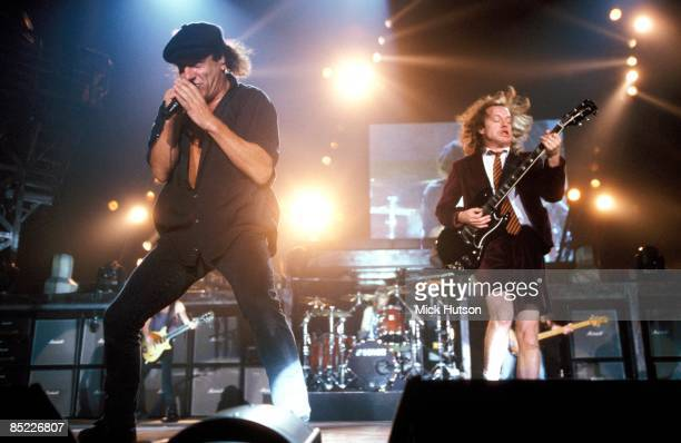 ARENA Photo of Angus YOUNG and AC/DC and Brian JOHNSON and AC DC Brian Johnson Angus Young performing live onstage