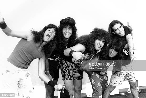 Photo of ANTHRAX Posed group portrait LR Frank Bello Joey Belladonna Charlie Benante Dan Spitz and Scott Ian