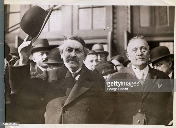 Photo of Aristide Briand Premier of France and his conference of the French 'disarmament' delegation M Rene Viviani taken just as they reached the...