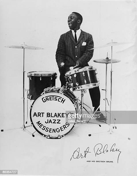 Photo of Art BLAKEY Posed studio portrait of drummer Art Blakey with Gretsch drums