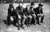 WOODSTOCK Photo of BAND LR Richard Manuel Garth Hudson Levon Helm Robbie Robertson Rick Danko posed group shot in the grounds of Big Pink during...