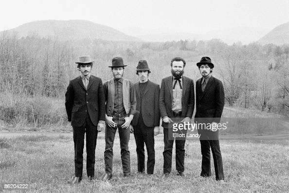WOODSTOCK Photo of BAND LR Rick Danko Levon Helm Richard Manuel Garth Hudson Robbie Robertson posed group shot back cover from 'Music From Big Pink'...