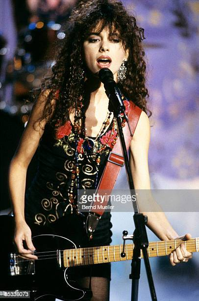 Photo of BANGLES and Susanna HOFFS Susanna Hoffs performing on a tv show