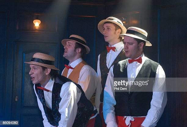 Photo of BARBERSHOP QUARTET Group portrait of a Barbershop Quartet performing