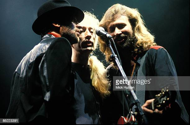 Photo of Barry GIBB and BEE GEES and Maurice GIBB and Robin GIBB LR Maurice Gibb Robin Gibb Barry Gibb