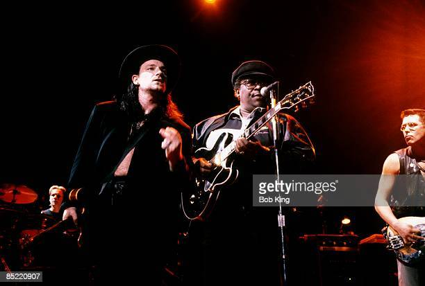 Photo of BB KING and Adam CLAYTON and BONO and U2 LR Bono BB King Adam Clayton performing live onstage on The Lovetown tour