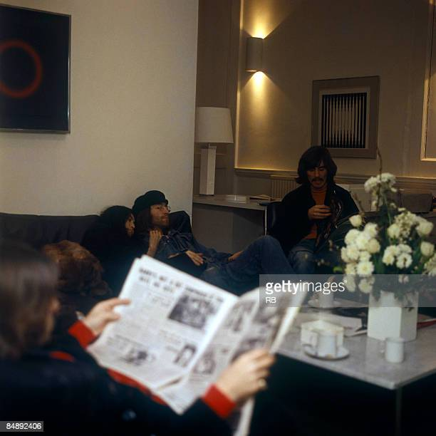 Photo of BEATLES and John LENNON and George HARRISON and Yoko ONO Yoko Ono John Lennon and George Harrison at the Apple offices in Saville Row