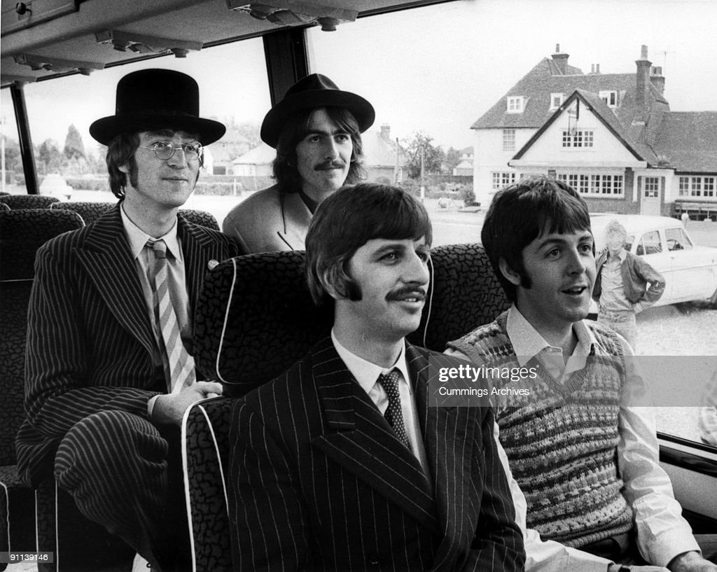 Photo of BEATLES and MAGICAL MYSTERY TOUR; L-R. John Lennon, George Harrison, Ringo Starr, Paul McCartney - posed group shot, on bus, during filming of Magical Mystery Tour