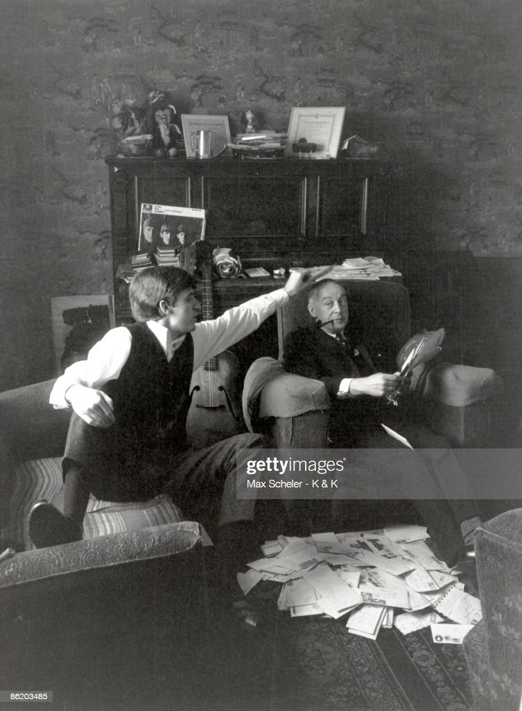 Photo of BEATLES and Mike McGEAR and Paul McCARTNEY; Paul McCartney's brother, Mike McGear with their father James McCartney at home at 20 Forthlin Road surrounded by fan-mail