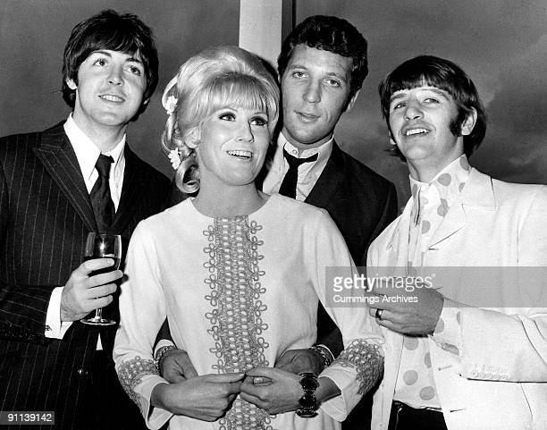 Photo of BEATLES and Paul McCARTNEY and Dusty SPRINGFIELD and Tom JONES LR Paul McCartney Dusty Springfield Tom Jones Ringo Starr posed at Melody...
