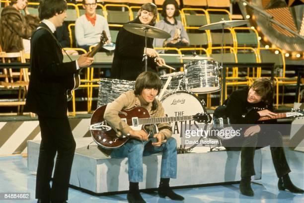 STARS Photo of BEATLES Paul McCartney Ringo Starr George Harrison John Lennon performing at Alpha Television Studios Aston Birmingham Bigsby Vibrato