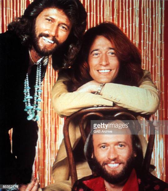 Photo of BEE GEES Group portrait LR Barry Robin and Maurice Gibb