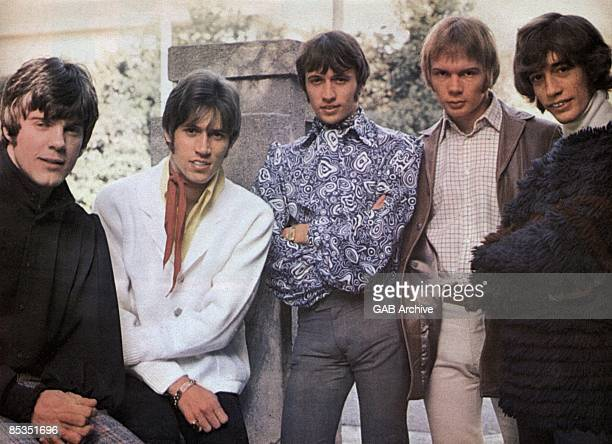 Photo of BEE GEES Group portrait LR Vince Melouney Barry Gibb Maurice Gibb Colin Petersen and Robin Gibb