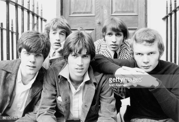 Photo of BEE GEES posed in London in 1967 Left to right Vince Melouney Robin Gibb Barry Gibb Maurice Gibb and Colin Petersen