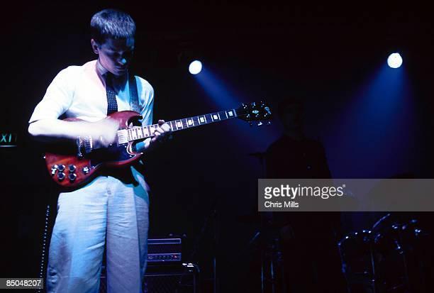 BALLROOM Photo of Bernard SUMNER and JOY DIVISION Bernard Sumner performing live onstage playing Gibson SG guitar