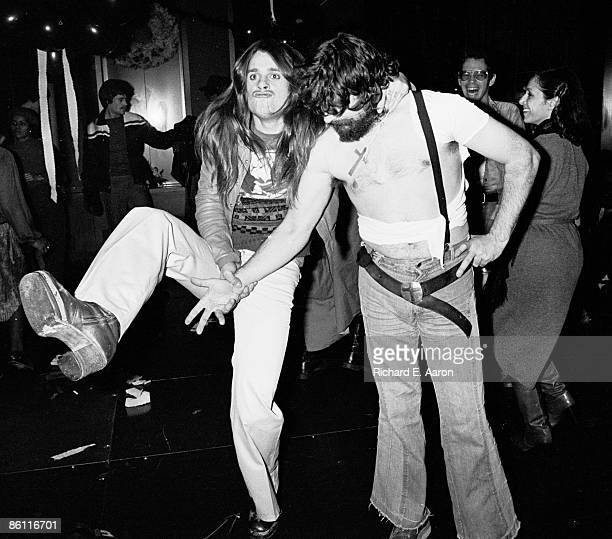 Photo of Bill WARD and Ozzy OSBOURNE and BLACK SABBATH Ozzy Osbourne Bill Ward offstage c1977