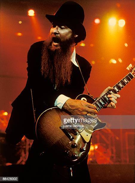 Photo of Billy GIBBONS and ZZ TOP Billy Gibbons performing live onstage playing Gibson Les Paul guitar