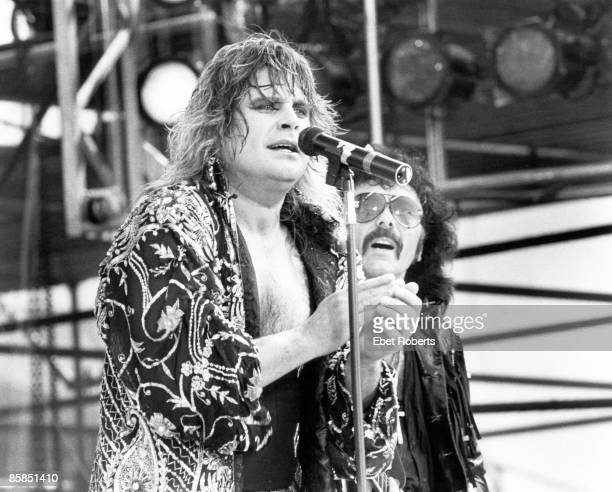 STADIUM Photo of BLACK SABBATH and Ozzy OSBOURNE and Tony IOMMI and LIVE AID Ozzy Osbourne and Tony Iommi performing live onstage at Live Aid