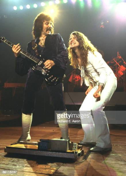 Photo of BLACK SABBATH LR Tony Iommi Ozzy Osbourne performing live onstage