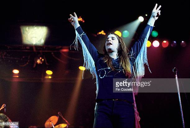 GARDEN Photo of BLACK SABBATH Ozzy Osbourne performing live onstage with arms in air