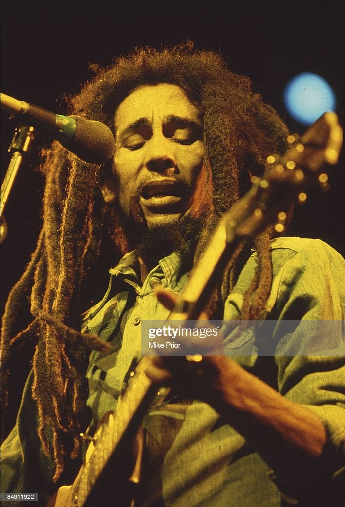 Photo of Bob MARLEY; <a gi-track='captionPersonalityLinkClicked' href=/galleries/search?phrase=Bob+Marley+-+Musician&family=editorial&specificpeople=240470 ng-click='$event.stopPropagation()'>Bob Marley</a> performing live on stage at the Brighton Leisure Centre