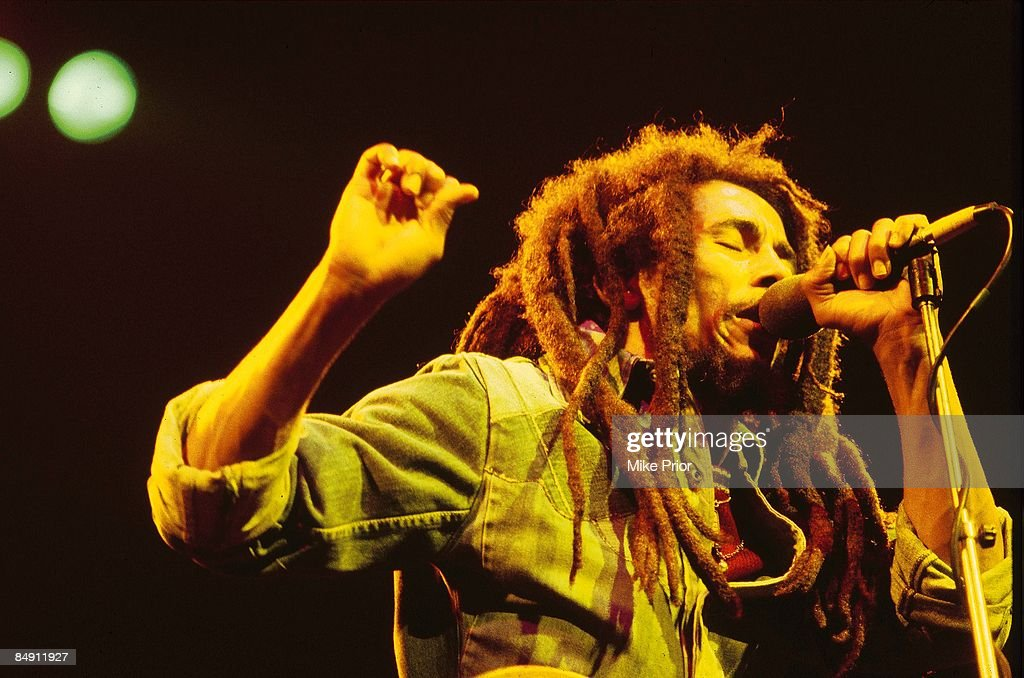 Photo of Bob MARLEY; <a gi-track='captionPersonalityLinkClicked' href=/galleries/search?phrase=Bob+Marley+-+Musician&family=editorial&specificpeople=240470 ng-click='$event.stopPropagation()'>Bob Marley</a> performing live on stage at the Brighton Leisure Centre -