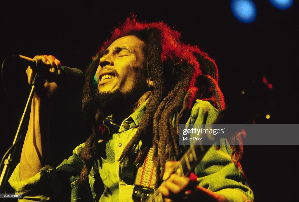 Photo of Bob MARLEY; <a gi-track='captionPersonalityLinkClicked' href=/galleries/search?phrase=Bob+Marley&family=editorial&specificpeople=240470 ng-click='$event.stopPropagation()'>Bob Marley</a> performing live on stage at the Brighton Leisure Centre