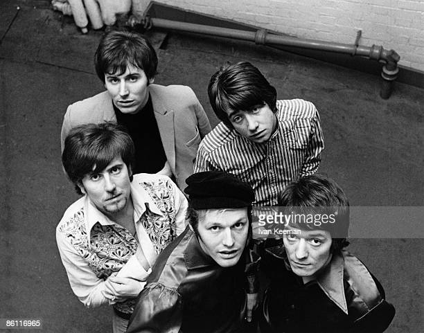 CENTRE Photo of Bobby ELLIOTT and HOLLIES and Graham NASH and Allan CLARKE and Tony HICKS and Bernie CALVERT Back LR Bernie Calvert Tony Hicks Front...