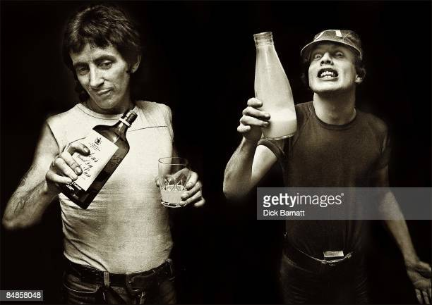 Photo of Bon Scott AC/DC and Angus Young London 1976