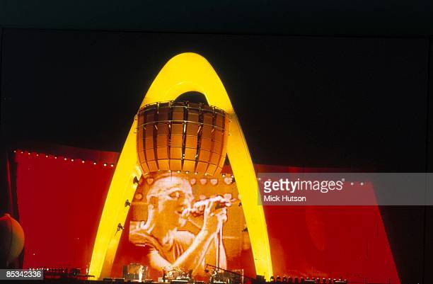 Photo of BONO and U2 stage set of Pop Mart tour