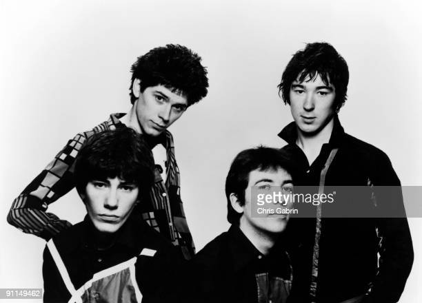 Photo of BUZZCOCKS and John MAHER and Steve GARVEY and Pete SHELLEY and Steve DIGGLE Posed studio group portrait John Maher Steve Garvey Pete Shelley...