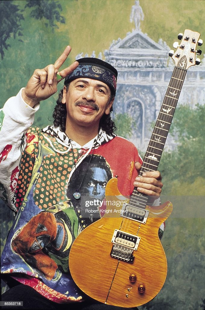USA Photo of Carlos SANTANA, posed, studio at Rockwalk induction
