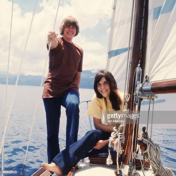 TAHOE Photo of CARPENTERS and Karen CARPENTER and Richard CARPENTER LR Richard Carpenter Karen Carpenter posed on boat in Lake Tahoe