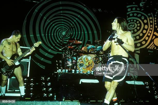 Photo of Chad SMITH and RED HOT CHILI PEPPERS and FLEA and Anthony KIEDIS Flea Chad Smith and Anthony Kiedis performing live onstage